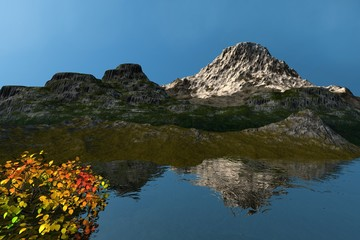 Snowy mountain, an alpine landscape, reflection on water, a beautiful tree and a clear sky.