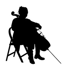 Woman cellist siting and playing cello vector silhouette. Music artist girl play string instrument. Jazz woman street performer. Musician play cello. Entertainment for public. Classic music event.