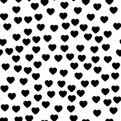Black heart silhouettes seamless pattern. Random scattered hearts background. Love or Valentine theme. Vector illustration.