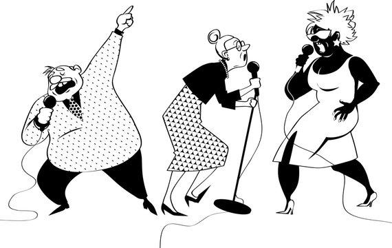 Three vector cartoon characters of senior people singing karaoke, EPS 8 vector illustration