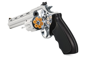 Revolver with opened cylinder, 3D rendering