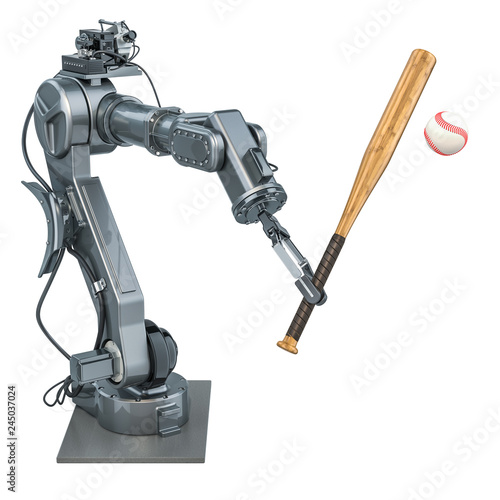 Robot arm play baseball, 3D rendering