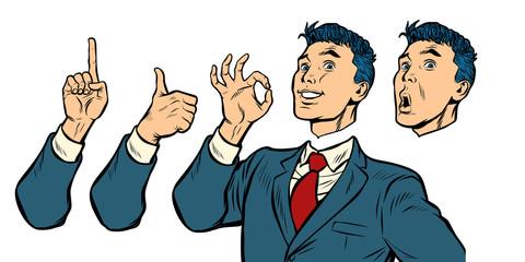 businessman set of gestures and emotions
