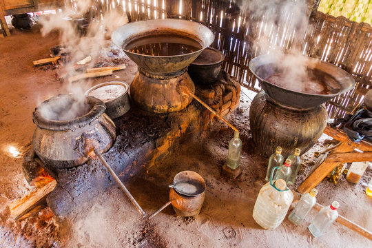 Distilling of a palm wine in Myanmar