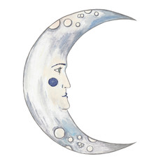 Illustration of a moon with a human face in vintage style.