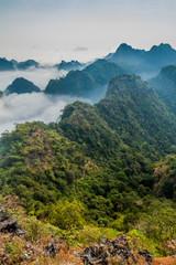 Fog and mountains around Mt Zwegabin near Hpa An, Myanmar