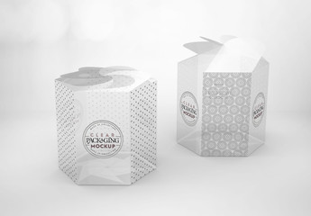Clear Hexagonal Twist Top Boxes Mockup
