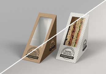Two Sandwich Wedge Boxes Mockup