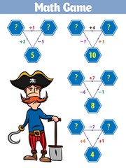 Mathematics educational game for children. Set of cartoon pirate characters. Vector illustration