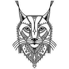 Ethnic style bobcat vector drawing. Isolated outlines