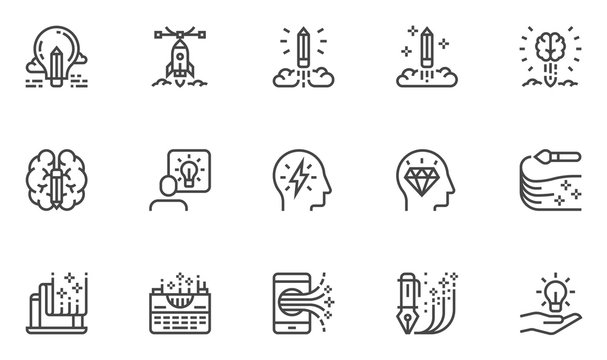 Creativity Vector Line Icons Set. Idea, Imagination, Mind Power, Inspiration, Creative Process, Writing, Painting. Editable Stroke. 48x48 Pixel Perfect.