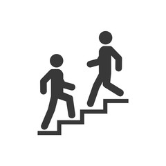 Upstairs-downstairs icon sign. Walk man in the stairs. Career symbol. flat design. Vector illustration.