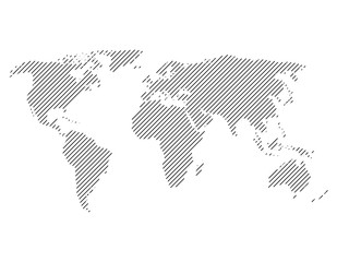 Wall Mural - Hatched map of world. Striped design vector illustration on white background.