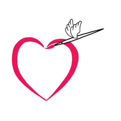 Heart and winged brush. Valentine's Day