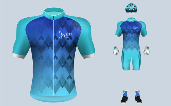 3D realistic of front of blue gradient cycling jersey t shirt with pants and helmet on shop backdrop. Concept for fashion of cyclist uniform or apparel mockup template in vector illustration