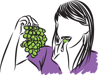 pretty woman eating grapes vector illustration