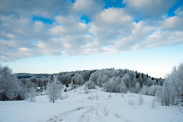 beautiful winter landscapes in the valleys