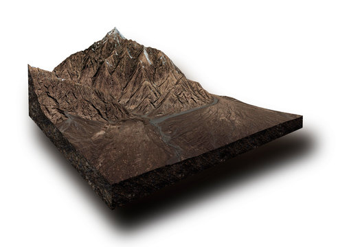 cross section of an arid mountain and it's valley