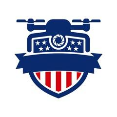 drone vector logo. shield icon.