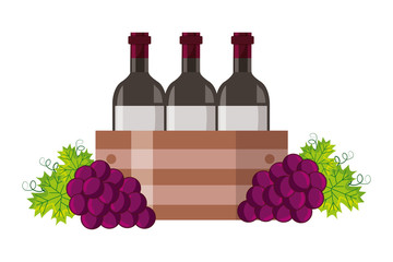 wine bottles on basket and grapes