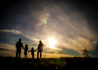 family, family life, love, silhouette and sky, sunsets, happy family, family holding hands