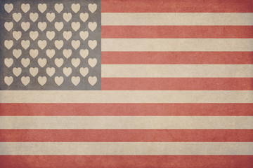 Illustration for Valentine's day in the form of an American flag with hearts instead of stars with a texture in the style of grunge