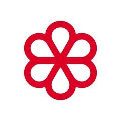 Red ribbon vector logo.