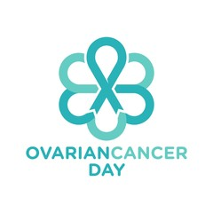 ovarian cancer ribbon vector logo.