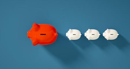 color Piggy Bank / coin bank save money investment concept