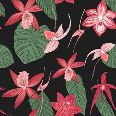 Floral seamless pattern with greenery leaves style on black background. Blooming orchid botanical texture.