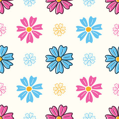 Colorful seamless pattern with abstract flowers - Vector