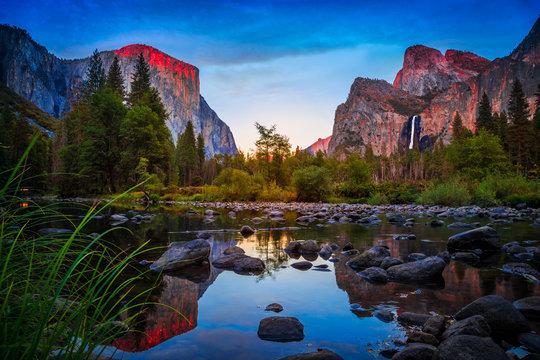 Twilight Reflections on Yosemite Valley, Yosemite National Park, California