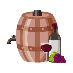 wine bottle cup grapes barrel