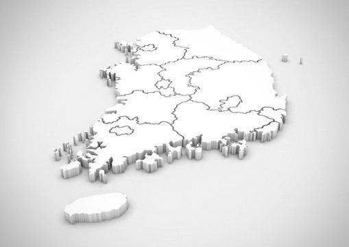 korea 3d map. south korea rendering map. korea map. korean peninsula.
