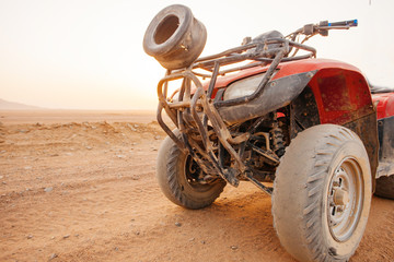The cars for  excursion in the Egyptian desert north of Sharm el Sheikh