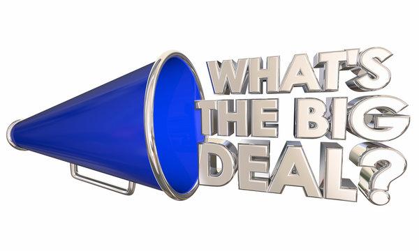 Whats the Big Deal Bullhorn Megaphone Words Question 3d Illustration