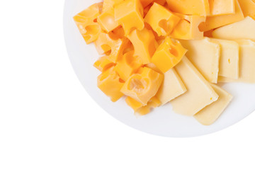 Assortment of  cheese ion plate isolated on the white background