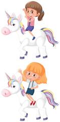 Set of girl riding unicorn
