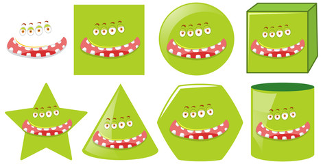 Set of monster faicl expression