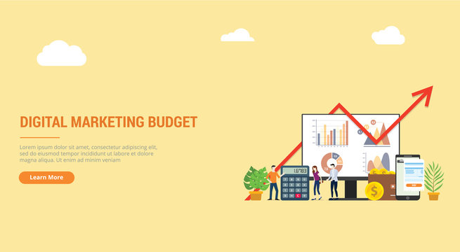 website design landing page ui ux for digital marketing budget financial campaign for advertising team people working together with graph and chart - vector