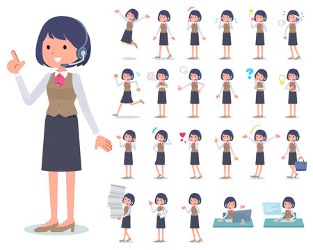 flat type Call center women_emotion