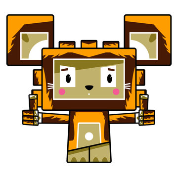 Adorably Cute Cartoon Block lion with Thumbs Up