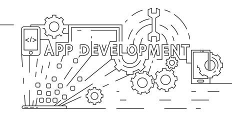 Application Development Concept. Software Developer Illustration. Flat Line Design in Geometric. Black and White Doodle Style Vector Banner, Background, or Landing Page.