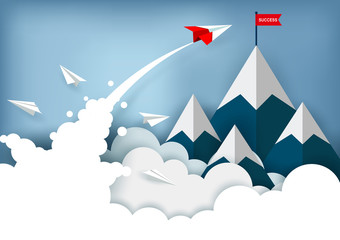 red paper plane are flying to the red flag target on mountains while flying above a cloud. business finance success. leadership. creative idea. startup. illustration cartoon vector