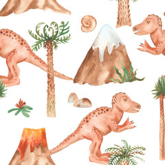 Watercolor seamless pattern with tyrannosaur, palm trees, mountains. Texture for cards, invitations, baby design, wallpaper, scrapbooking, baby shower, themed party.