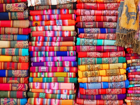 Colorful Andean textiles.