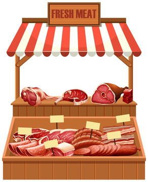 Isolated fresh meat stall