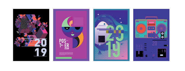 2019 New Poster and Cover Design Template for Magazine. Trendy Vector Typography and Colorful Illustration Collage for Cover and Page Layout Design Template in eps10.
