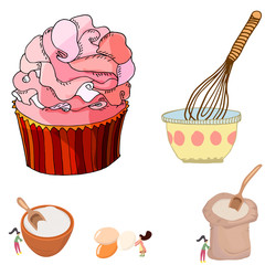 Pretty illustration of a big cupcake and women mixing ingredients.