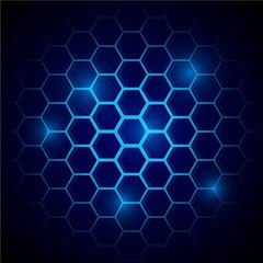 Futuristic blue honeycomb pattern. Hexagonal conceptual background